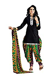 Aryahi Womens's Cotton Dress Material (70368CVAR_Black )