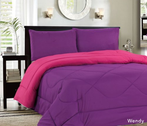 Down Alternative Reversible Comforter Purple/Rose - Twin front-896375