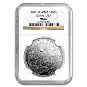 2012 1 oz Silver Armenia 500 Drams Noah's Ark Coin MS-69 NGC