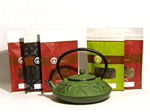 Christmas Holiday Green Cast Iron Infuser Teapot and Holiday Flavored Loose Leaf (Looseleaf) Tea Sampler Gift Set Kit (incl. five 2 oz. specialty teas) (Bundle - 6 items)