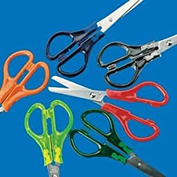 Dozen Kids Rainbow Colors Plastic and Metal Scissors [Office Product] by Fun Express
