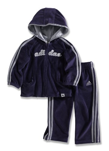 Adidas Baby-Girls Infant Itg Pirouette Princess Velour 2-Piece Jacket Set, Dark Violet, 12 Months back-955533