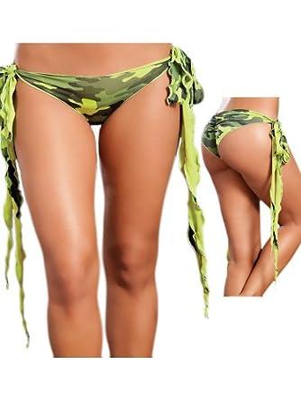 Mix & Match Sexy Army Green Camo Long Side Tie Brazilian Cut Panties - Small/Medium