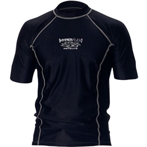 Hyperflex Loose Fit Men's Short Sleeve Rash Guard - Black -