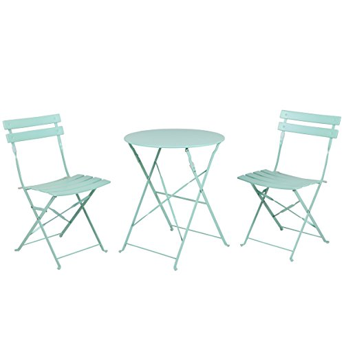 Set of 2 folding chairs sling bistro set outdoor patio for Space saving hanging table for balcony