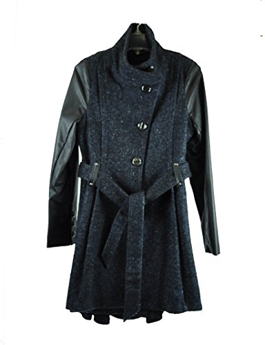 Steve Madden Faux-leather-sleeve Belted Tweed Coat Blue Medium