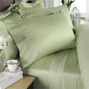 Italian 800 Thread Count Egyptian Cotton Sheet Set Deep Pocket, Twin Xl, Sage Solid, Premium Italian Finish front-1033432