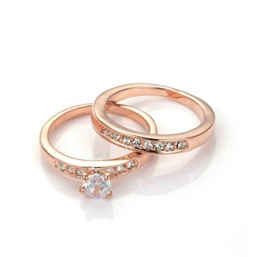 Yours Nickel Free Rose Gold Plated 3mm Band 5mm Cubic Zirconia Engagement 2 in 1 Ring (9)