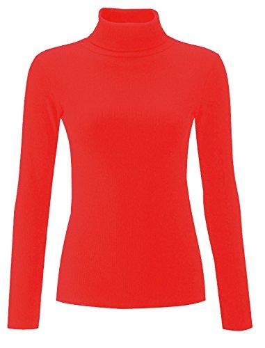 Polo in cotone, tinta unita, a coste da donna a collo alto, a maglia a tunica
