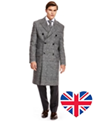 Best of British Pure Wool Double Breasted Prince of Wales Checked Coat