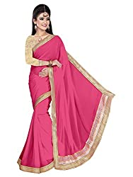 Sonani Women's Georgette Disigner Paety Wear Sarees with Blouse Piece (pink5656)