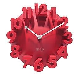 Tobson New Modern 3D Unique Creative Wall Square Clock Home Decor Decoration,Red
