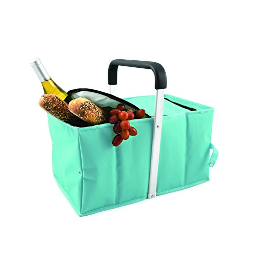 Investment True Fabrications Modern Collapsible Style Insulated Picnic Tote For Groceries, Cold Food, Warm Food, Picnics, Bbq'S Potlucks - Blue compare