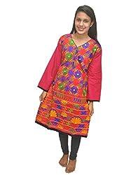Baa Creation Women's Cotton A-Line Kurti (BAAKUT10_Pink_XX-Large)