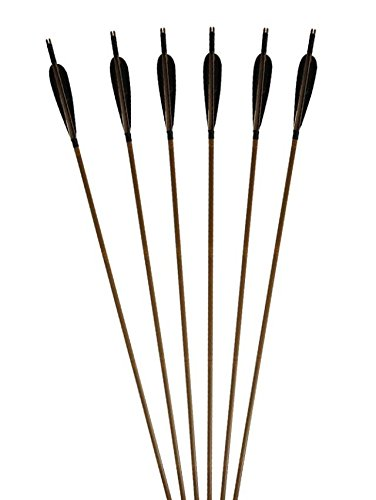 6-Pack-Huntingdoor-Traditional-Bamboo-Shafts-Archery-Arrows-Fletching-With-Black-Feathers-Tiped-Metal-Broadheads-for-Practice-or-Hunting-Bows