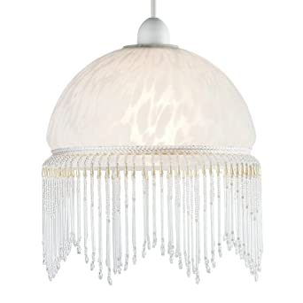 Modern Shabby Chic White Glass Ceiling Pendant Light Lampshade