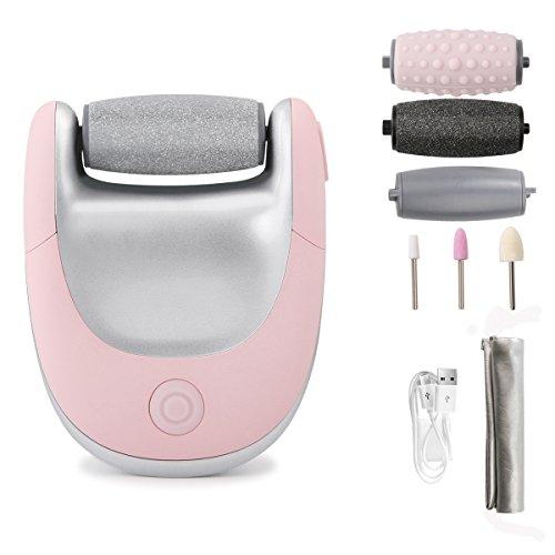 (アモビー) AmoVee 電動角質リムーバー 角質ケア ネイルケア道具付き ビューティフット かかと角質除去 USB充電式 ローラー3種類(ピンク)