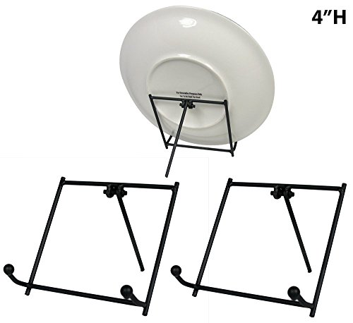 Black Metal Easels Wrought Iron Display Plate Stands - 4 Inch - Set of 3 Pieces (Iron Stand Table compare prices)
