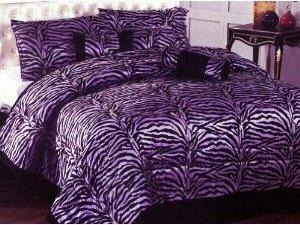 Purple zebra design comforter bed in a bag set king size bedding
