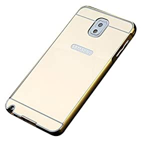 Carla Branded Luxury Metal Bumper + Acrylic Mirror Back Cover Case For Samsung NOTE 3 Gold + Mini Aux wired Selfie Stick.