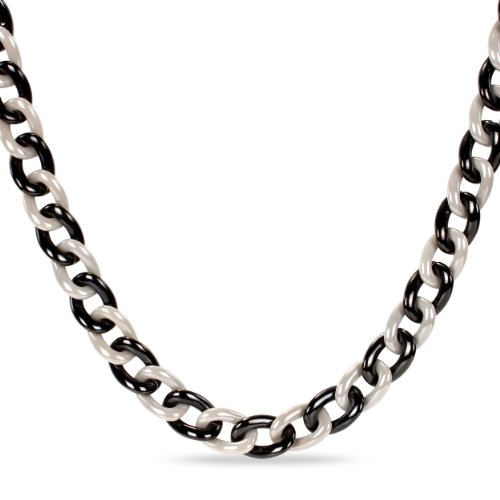 Black Plated Stainless Steel Grey Ceramic Link Necklace (18in)