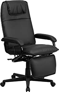 Black Leather Recline Reclining Footrest Executive Highback Office Desk Chairs