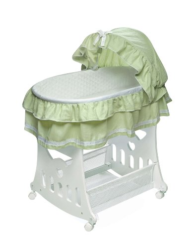 Badger Basket Company Portable Bassinet 'N Cradle with Toybox Base, Sage Waffle Ruffled