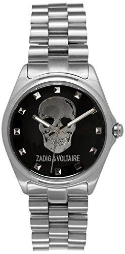 Zadig & Voltaire ZV 058/AM Glam Rock, Unisex Watch, Analogue Quartz, Silver Steel Strap, Black Dial