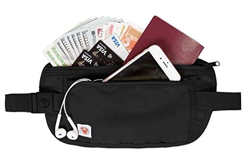 (バッグ・マート)Bags-mart 貴重品入れ シークレット ウエストポーチ 旅行用品 トラベルポーチ セキュリティケース 海外旅行便利グッズ 防犯グッズ 盗難対策 薄い ブラック プレゼント ギフト