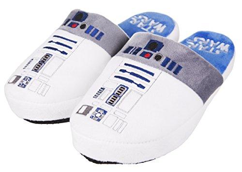 Ufficiale Disney Star Wars Nuovo suola antiscivolo Uomo R2D2 Droidi Ciabatte - Bianco, Large
