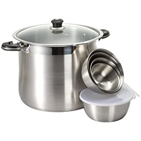 Concord Heavy Duty Stock Pot with Glass Lid and Bonus 10 piece Mixing Bowl Set