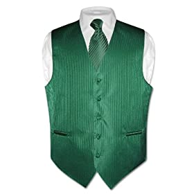 Men's Dress Vest & NeckTie Emerald Green Striped Vertical Stripes Design Set for Suit or Tuxedo