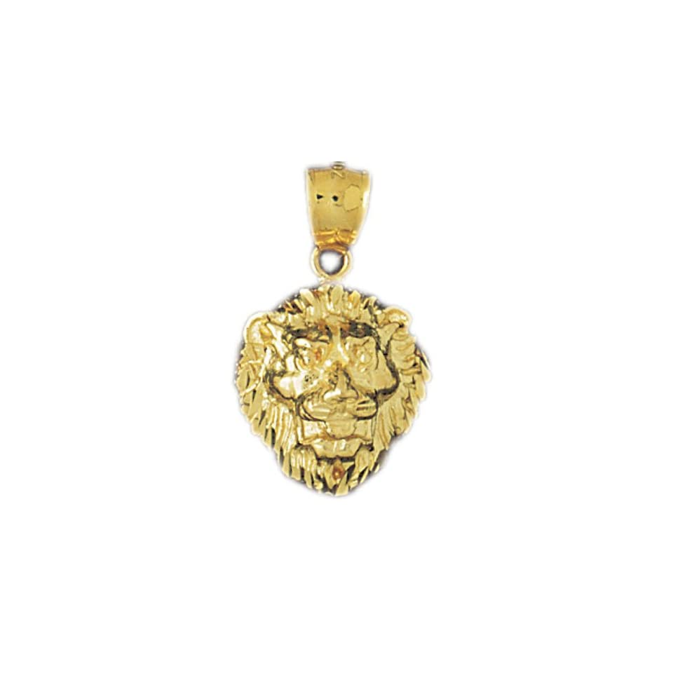 14K Yellow Gold Lion Head Pendant   21 mm (approx. 3.4 grams)
