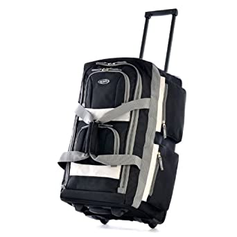 "Olympia Luggage 29"" 8 Pocket Rolling Duffel Bag, Black, One Size"