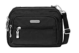 Baggallini Triple Zip Crossbody Travel Bag, Black, One Size