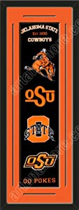 Heritage Banner Of Oklahoma State Cowboys With Team Color Double Matting-Framed... by Art and More, Davenport, IA