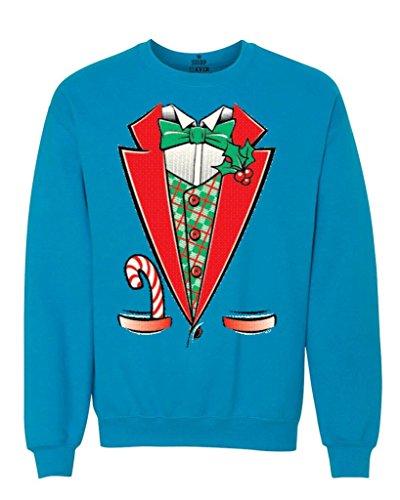 [Shop4Ever Tuxedo Christmas Costume Crewnecks Xmas Sweatshirts X-Large Sapphire12258] (A Christmas Carol Costume Design)