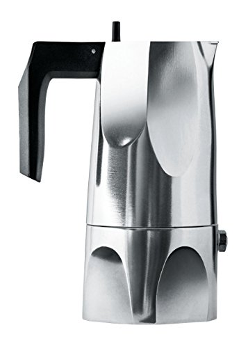 "Alessi MT18/1 ""Ossidiana"" Stove Top Espresso 1 Cup Coffee Maker in Aluminium Casting Handle And Knob in Thermoplastic Resin, Black"