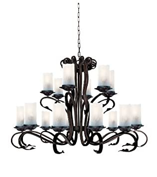 Scroll rustic brown finish 18-light fitting with white cathedral style crackle glasses 7918-18br – Searchlight   «Best Sellers