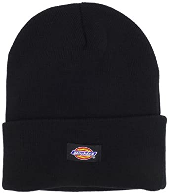 Dickies Men's 14 Inch Cuffed Knit Beanie Hat, Black, One Size