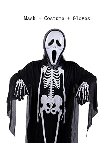 [Century Star Halloween Classic Skeleton Ghost Skull Face Mask Full Set Costume Child Set B One Size] (Halloween Costumes Ideas For Guys With Beards)