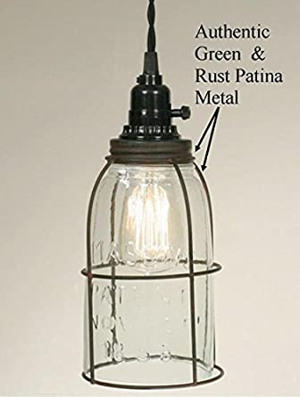 plug in mason jar swag lamp vintage rustic industrial primitive. Black Bedroom Furniture Sets. Home Design Ideas