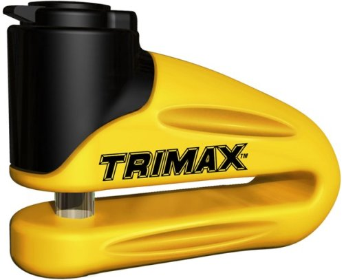 Best Deals! Trimax T665LY Hardened Metal Disc Lock - Yellow 10mm Pin (Long Throat) with Pouch & Remi...