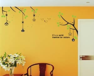 """OneHouse Birds and Nests on Branches of Trees """"It's a world inspired by nature"""" Quotes Wall Sticker from OneHouse"""