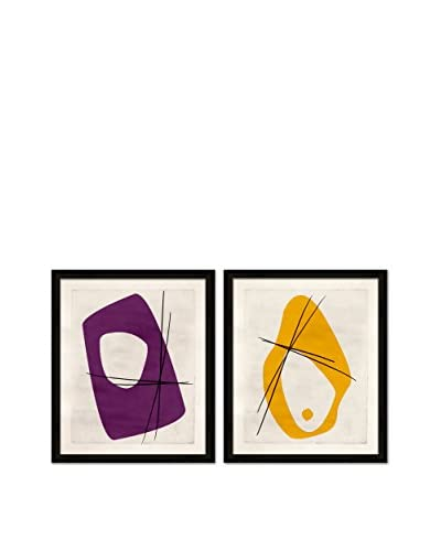 Soicher Marin Set of 2 Classy Retro Mod Giclée Reproductions, Purple/Yellow,