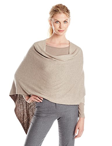 Minnie Rose Women's Reversible Ruana, Taupe Heather/Cigar, One Size