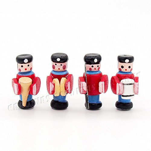 Odoria 1:12 Miniature 4PCS Wooden Soldier Marching Band Nursery Figure Dollhouse Accessories (Christmas Toy Soldier)
