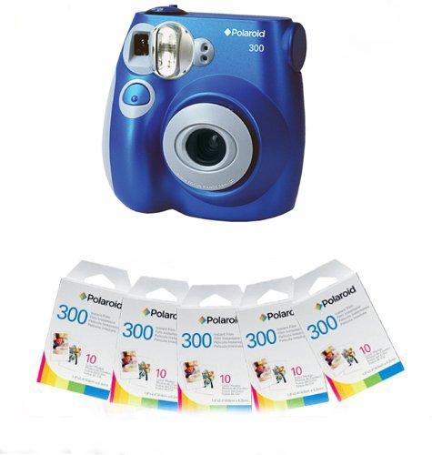 Polaroid 300 Instant Camera - Blue and 50 Film