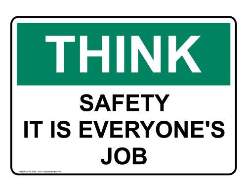 Compliancesigns Plastic Osha Think Sign, 14 X 10 In. With Safety Awareness Info In English, White