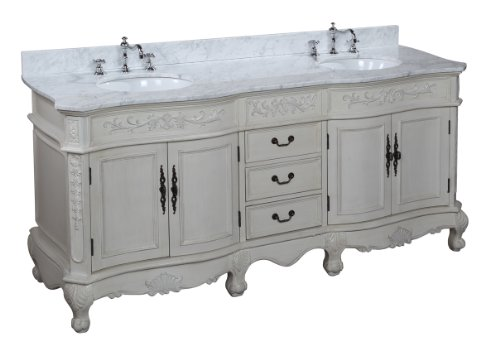 Versailles 72-inch Bathroom Vanity (Carrera/antique White): Includes Antique White Solid Wood Cabinet, Soft Close Drawers, Carrera Marble Countertop, and Two Ceramic Sinks